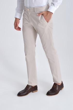 Ekru Slim Fit Spor Pantolon - Thumbnail