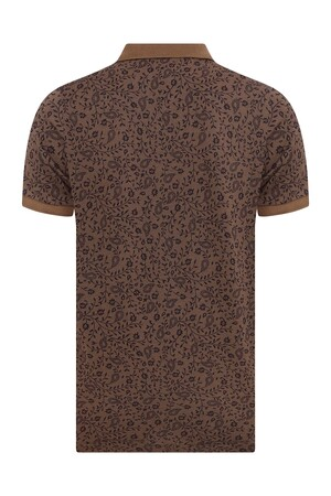 Kahverengi Desenli Polo Yaka Tişört - Thumbnail