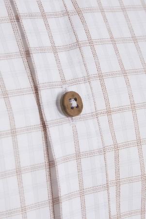 Kahverengi Kareli Slim Fit Gömlek - Thumbnail