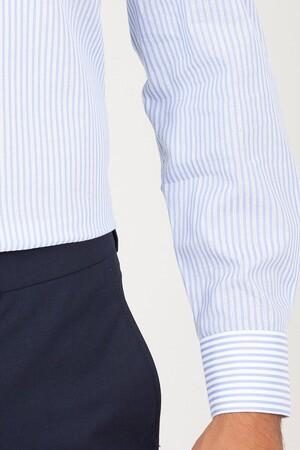 Açık Mavi Klasik Çizgili Gömlek - Thumbnail