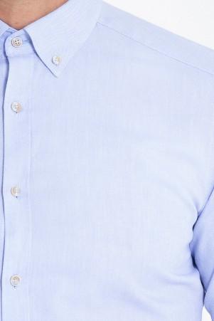 Slim Fit Açık Mavi Oxford Gömlek - Thumbnail
