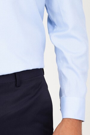 Klasik Mavi Armürlü Gömlek - Thumbnail
