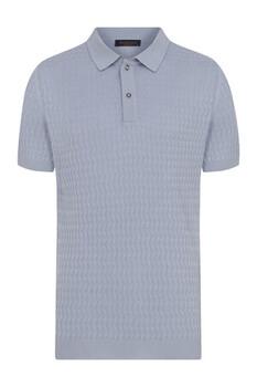 Açık Mavi Desenli Polo Yaka Tişört - Thumbnail