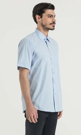 Kısa Kol Açık Mavi Klasik Gömlek - Thumbnail