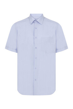 Açık Mavi Cepli Kısa Kol Klasik Gömlek - Thumbnail