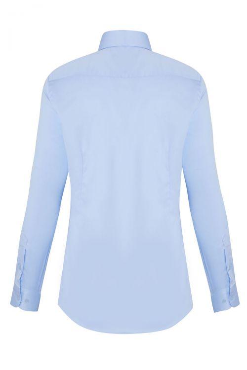 Mavi Slim Fit Saten Gömlek