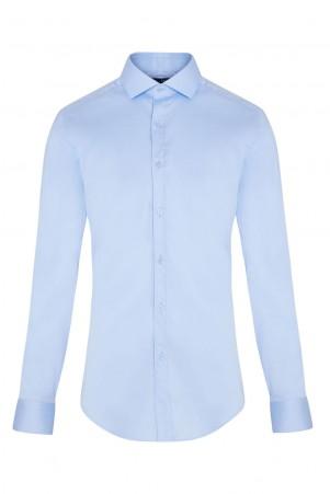 Mavi Slim Fit Saten Gömlek - Thumbnail