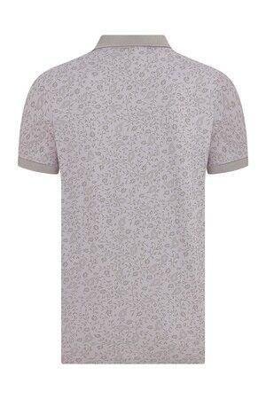 Lila Desenli Polo Yaka Tişört