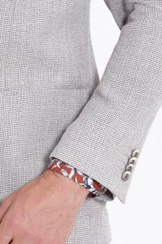 Bej Desenli Slim Fit Ceket - Thumbnail