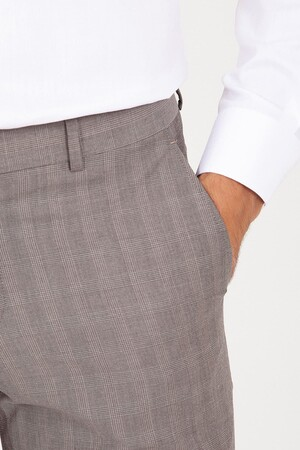 Kahverengi Slim Fit Kareli Kumaş Pantolon - Thumbnail