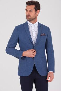 Mavi Slim Fit Desenli Ceket - Thumbnail