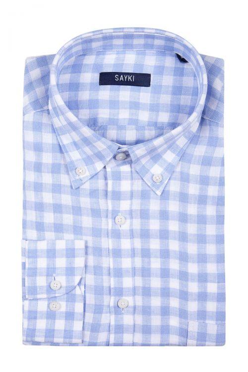 Açık Mavi Kareli Klasik Gömlek