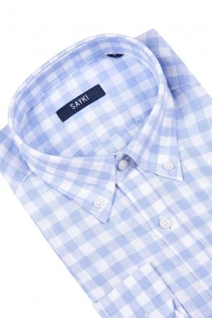 Açık Mavi Kareli Klasik Gömlek - Thumbnail