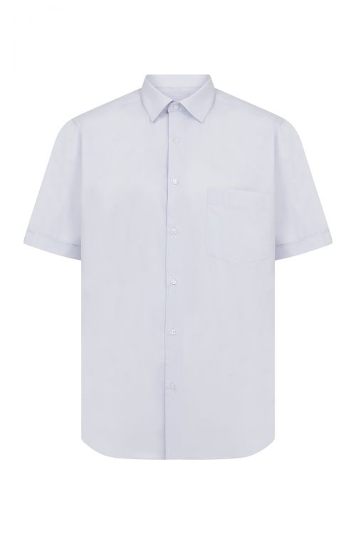 Açık Mavi Cepli Kısa Kol Klasik Gömlek