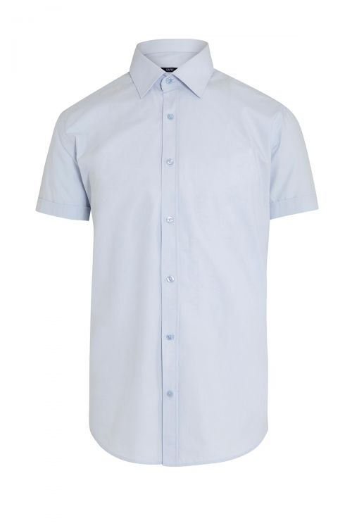 Mavi Kısa Kol Slim Fit Gömlek