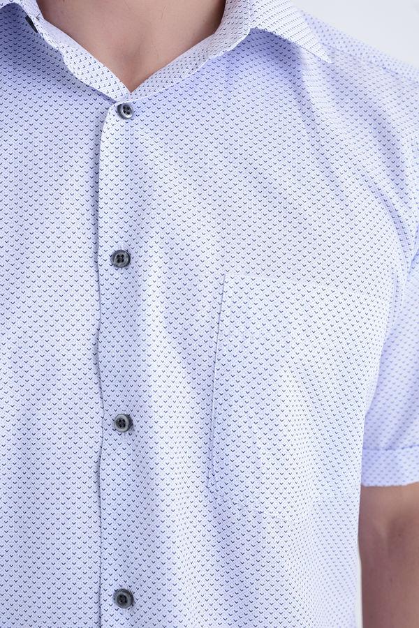 Baskılı Kısa Kol Gri Gömlek