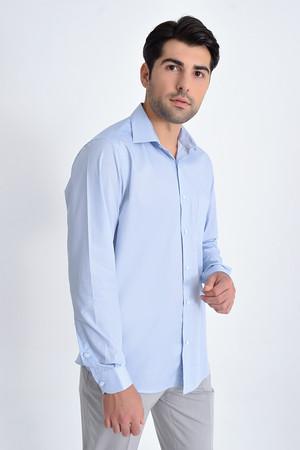 Baskılı Klasik Mavi Gömlek - Thumbnail