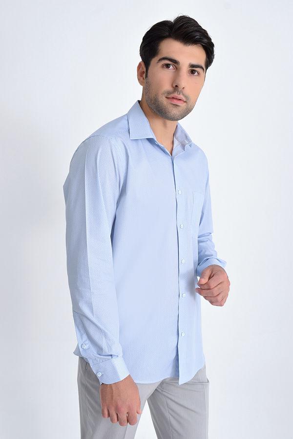 Baskılı Klasik Mavi Gömlek