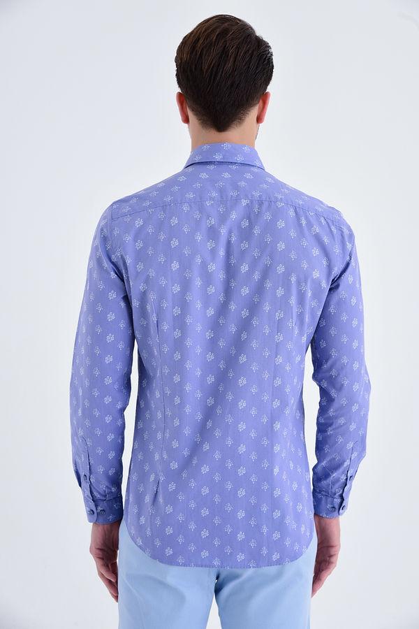 Baskılı Slim Fi tMavi Gömlek