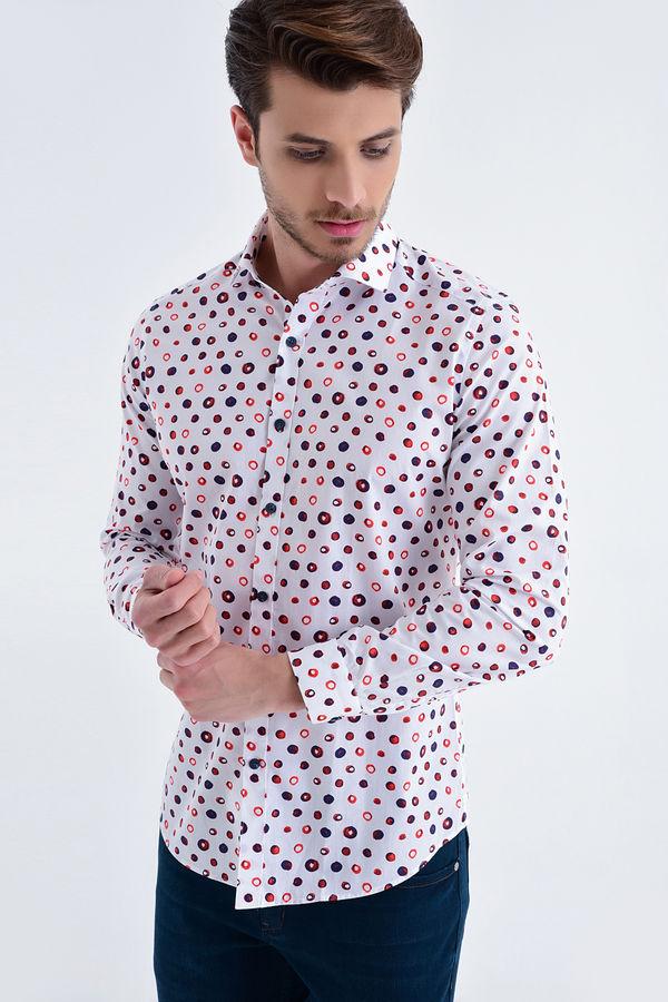 Baskılı Slim Fit Beyaz Gömlek
