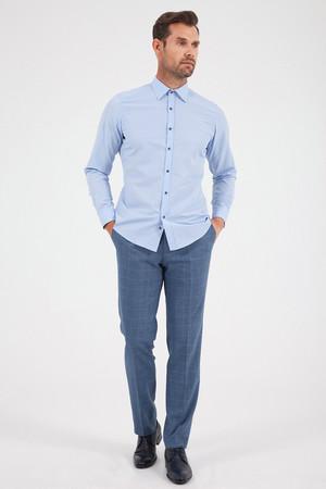 Baskılı Slim Fit Mavi Gömlek - Thumbnail