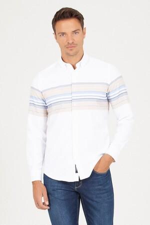 Slim Fit Çizgili Beyaz Gömlek - Thumbnail