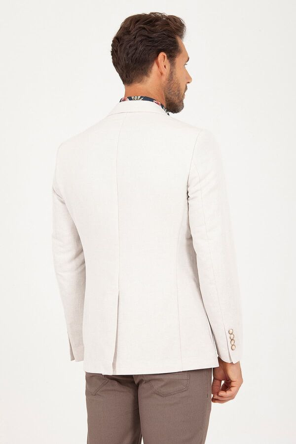 Bej Slim Fit Desenli Ceket