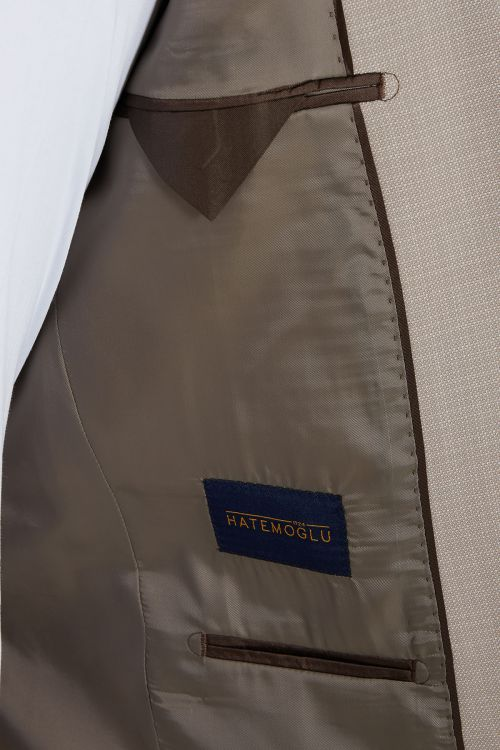 Bej Desenli Slim Fit Takım Elbise