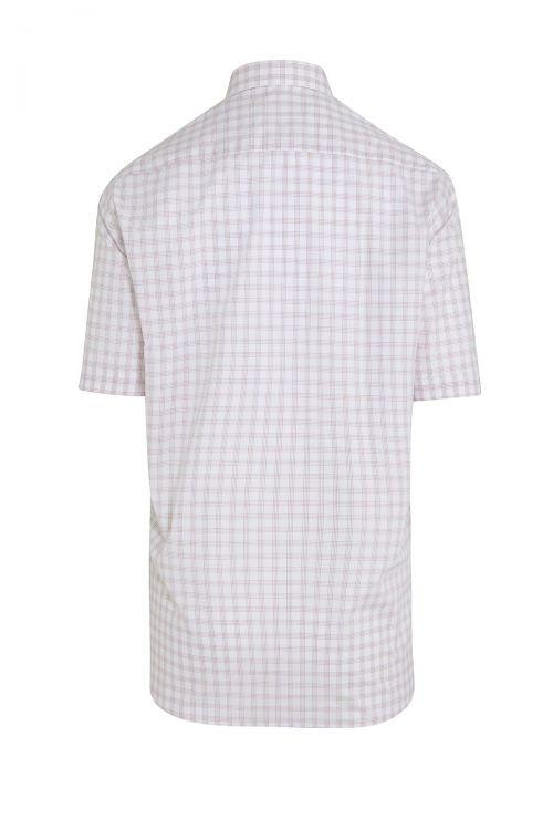 Bej Kareli Kısa Kol Klasik Gömlek