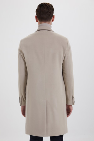 Bej Kontrast Cepli Yünlü Palto - Thumbnail