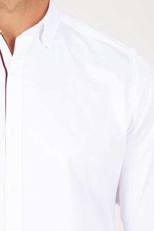 Slim Fit Beyaz Biyeli Gömlek - Thumbnail