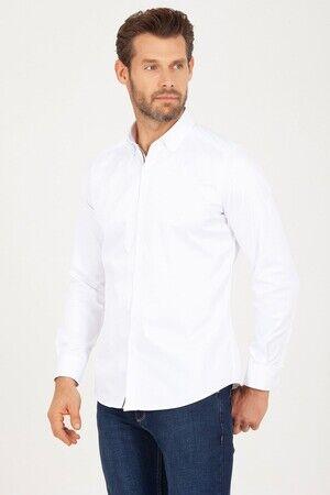 Slim Fit Beyaz Biyeli Gömlek