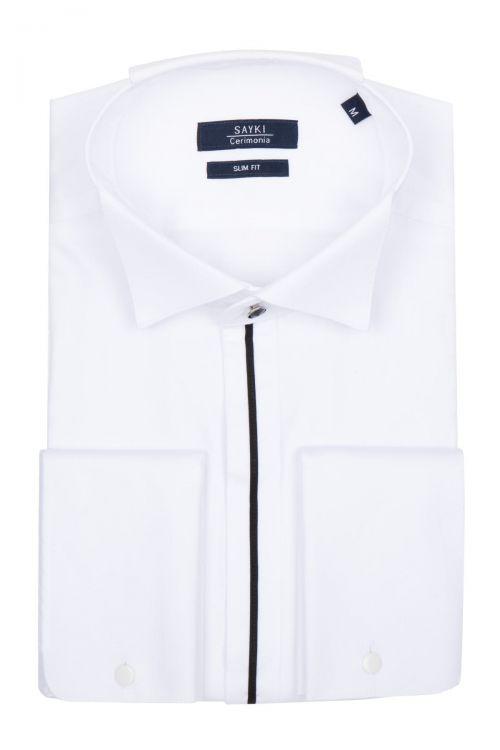 Beyaz Ata Yaka Cerimonia Gömlek