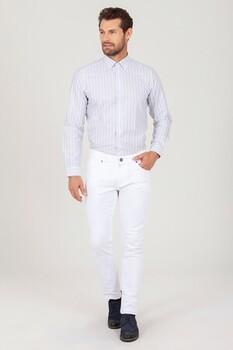 Beyaz Slim Fit Spor Pantolon - Thumbnail