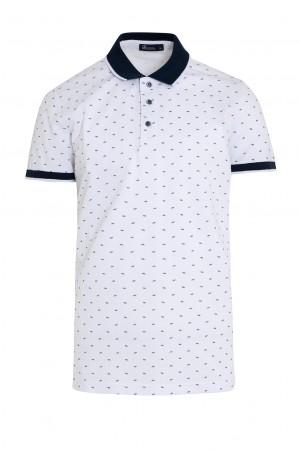 Beyaz Polo Yaka Baskılı Tişört - Thumbnail