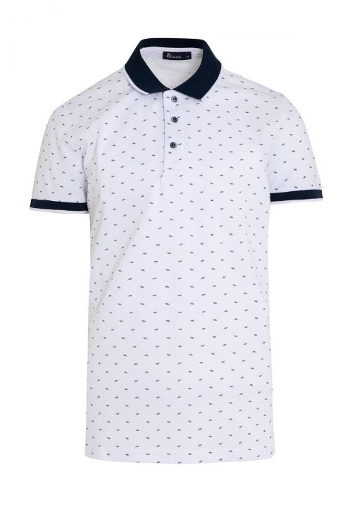 Beyaz Polo Yaka Baskılı Tişört