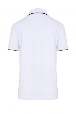Beyaz Baskılı Polo Yaka Tişört - Thumbnail