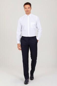 Beyaz Klasik Desenli Gömlek - Thumbnail