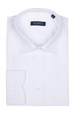 Beyaz Armürlü Klasik Gömlek - Thumbnail