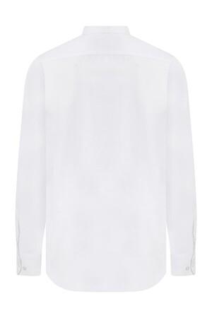 Slim Fit Armürlü Beyaz Gömlek - Thumbnail
