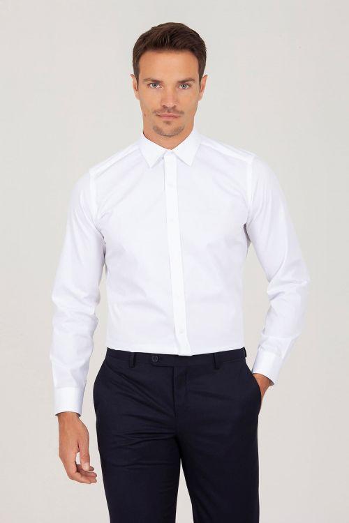 Slim Fit Beyaz Armürlü Gömlek