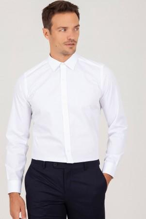 Slim Fit Beyaz Armürlü Gömlek - Thumbnail