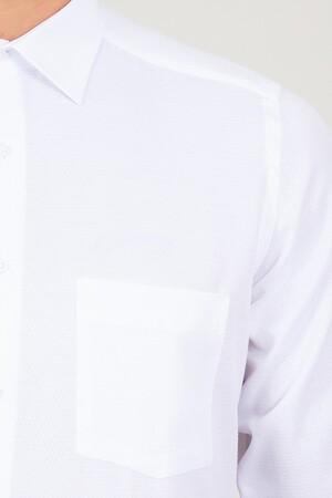 Klasik Beyaz Armürlü Gömlek - Thumbnail
