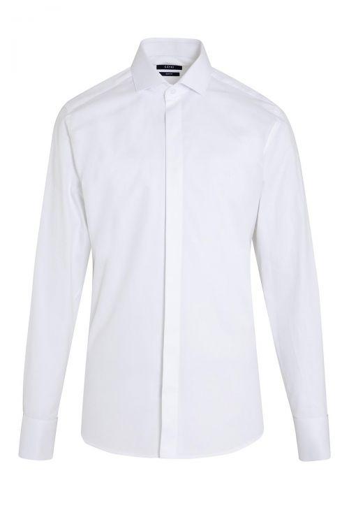 Beyaz Desenli Slim Fit Gömlek