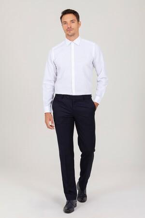 Regular Fit Beyaz Armürlü Gömlek - Thumbnail