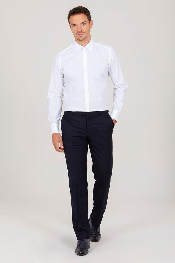 Beyaz Slim Fit Desenli Gömlek