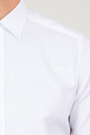 Beyaz Slim Fit Desenli Gömlek - Thumbnail