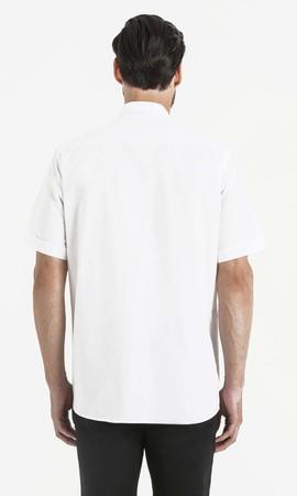 Kısa Kol Beyaz Klasik Gömlek - Thumbnail