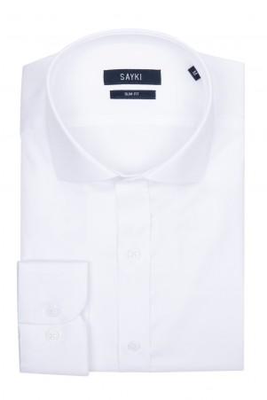 Beyaz Slim Fit Saten Gömlek - Thumbnail