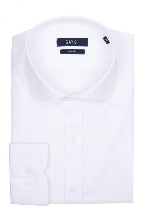 Beyaz Slim Fit Saten Gömlek
